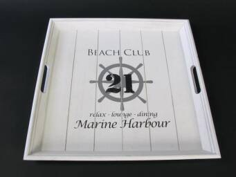 Tacka biała BEACH CLUB 21 WOOD ANTIC 44X30X7CM